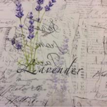 Портьерная хлопковая натуральная ткань с абстрактным рисунком 2506/43. Европа, Италия, портьерная ткань для штор. На светлом фоне абстрактный рисунок: лаванда, «газетный» стиль нанесения