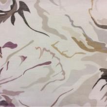 Заказать полупрозрачную натуральную ткань изо льна 2512/27. Европа, Италия. На ванильном фоне абстрактные стилизованные цветы ( микс)