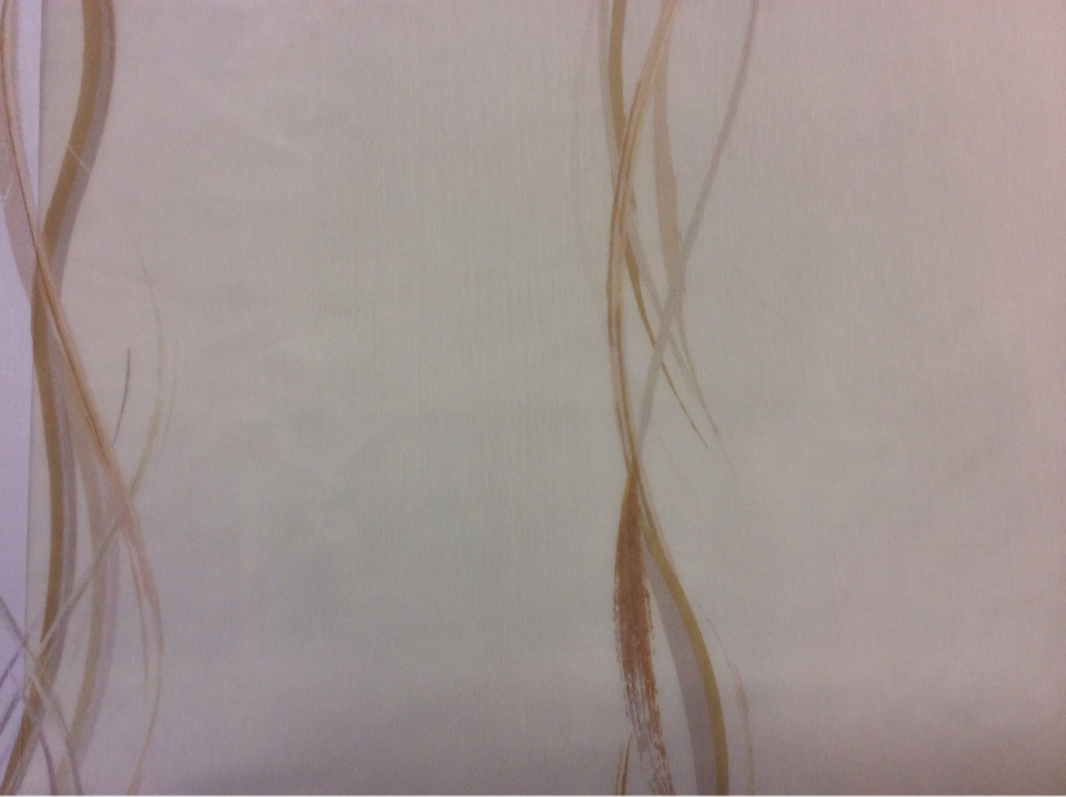 Итальянская тюлевая тонкая полупрозрачная ткань Арт: 2493/29. Европа, Италия, тюль. На белом фоне вертикальные абстрактные гибкие линии карамельного и серого оттенков