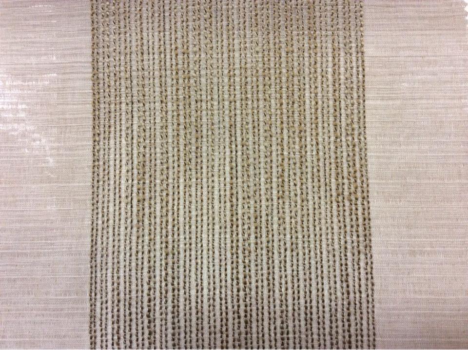 Купить легкий тюль в Москве Palmyra, col 13. Италия, полупрозрачная ткань для штор. На серо-бежевом фоне вертикальные широкие (15см) полосы оттенка бронзы