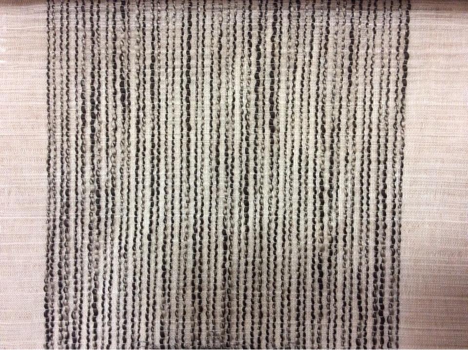 Тюлевая полупрозрачная ткань на серо-бежевом фоне вертикальные широкие (15см) полосы чёрно-серого оттенков Palmyra, col 16. Италия, тюль