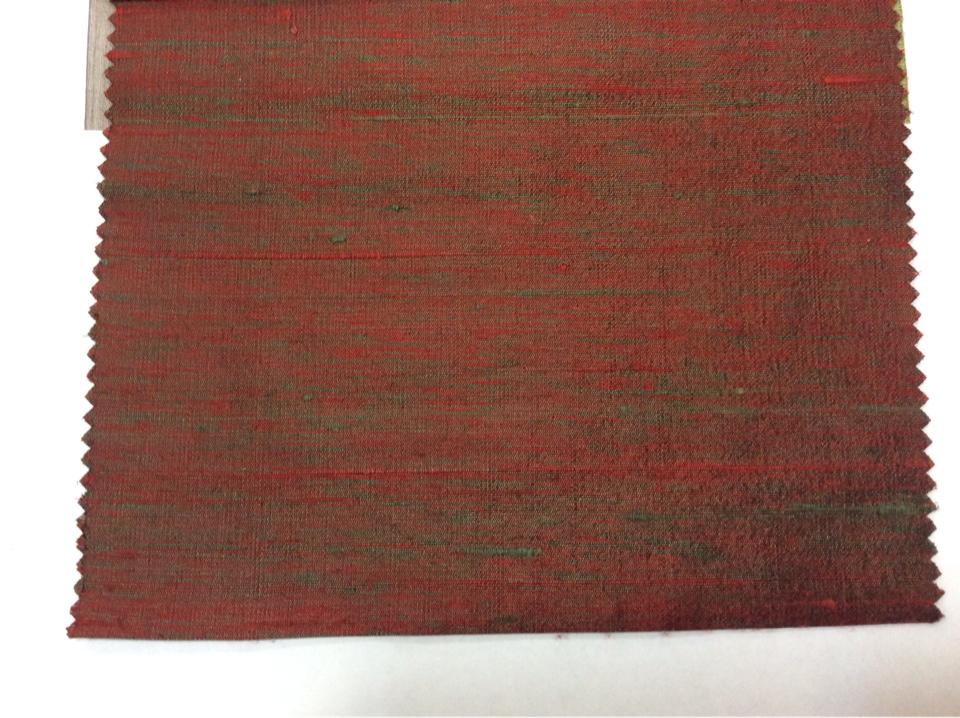 Купить дикий шёлк с узелками в Москве Gabriella, col 090. Индия, портьерная ткань. Красный с зеленью, меланж