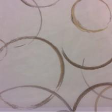 Тонкая тюлевая ткань (нейлон) в стиле нео-модерн, арт-Деко 2522/29. Италия. На прозрачном фоне абстрактные круги коричневых оттенков