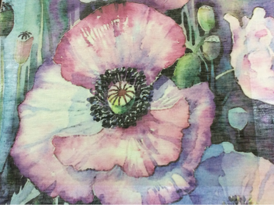 Полупрозрачная натуральная ткань изо льна с большими красивыми цветами 2498/43. Италия. Большие яркие цветы (микс)