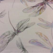Портьерная тонкая ткань из хлопка и льна 2499/43. Италия, портьерная ткань. На светлом фоне цветные стрекозы