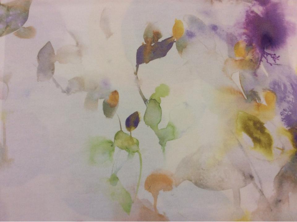 Натуральная портьерная ткань с ярким принтом из хлопка, на светлом фоне абстрактная акварель 2509/43