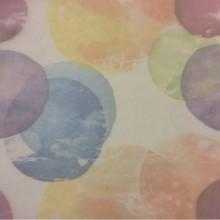 Тонкая тюлевая ткань с ярким принтом 2517/73. Италия, тюль. На прозрачном фоне цветные абстрактные круги