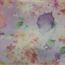 Портьерная ткань из атласа в стиле прованс, кантри Claude, col V2. Турция, портьерная ткань для штор. На сиреневом фоне размытые цветы, микс, акварель