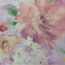 Купить элитный тюль с цветами, матовая ткань из крепа Claude Suit, col V2. Турция, тюлевая ткань. На сиреневом фоне яркие размытые цветы, микс, акварель