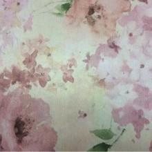 Портьерная ткань из атласа производства Турции Claude, col V4. Портьерная, на салатовом фоне яркие размытые цветы, микс, акварель