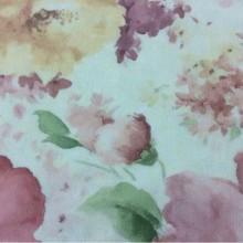 Тюлевая матовая ткань из крепа с красивыми цветами Claude Suit, col V4. Турция, тюль. На салатовом фоне яркие размытые цветы, микс, акварель