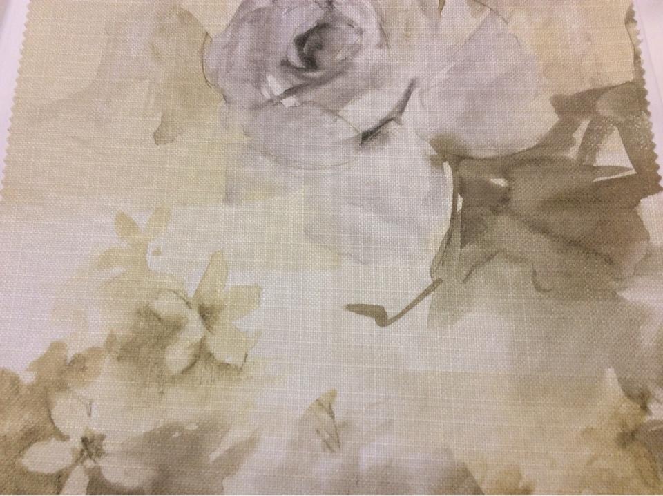 """Красивая ткань для детской комнаты Borelli, col 1040. Турция, портьерная ткань """"под лен"""". Крупные цветы в желтовато-зеленоватых оттенках, акварель"""