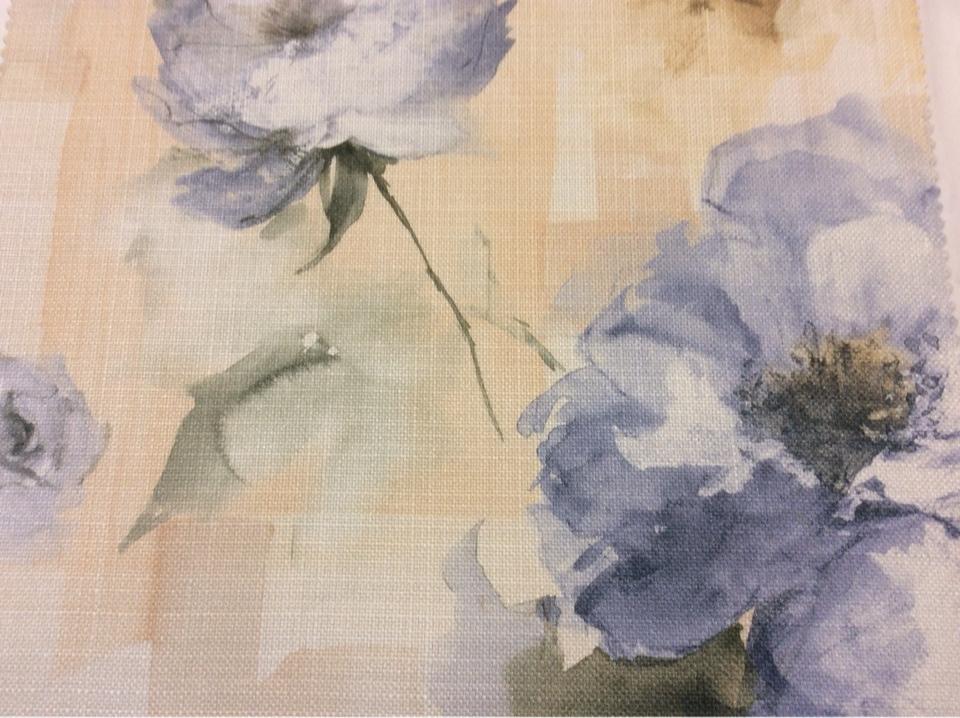 """Заказать ткань для римской шторы в интернет-магазине Москвы Borelli, col 1046. Турция, портьерная ткань """"под лен"""". На фоне кремового оттенка крупные голубые цветы, акварель"""