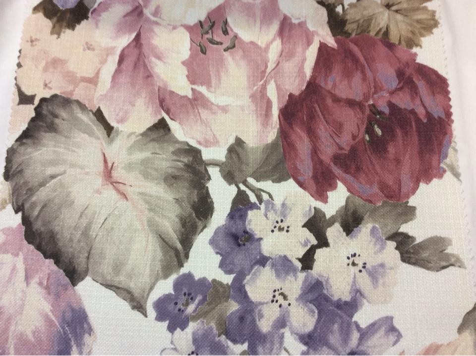 """Купить ткань для римских штор в Москве Leyster, col 1115. Турция, портьерная ткань """"под лён"""". Крупные цветы с листьями, микс"""