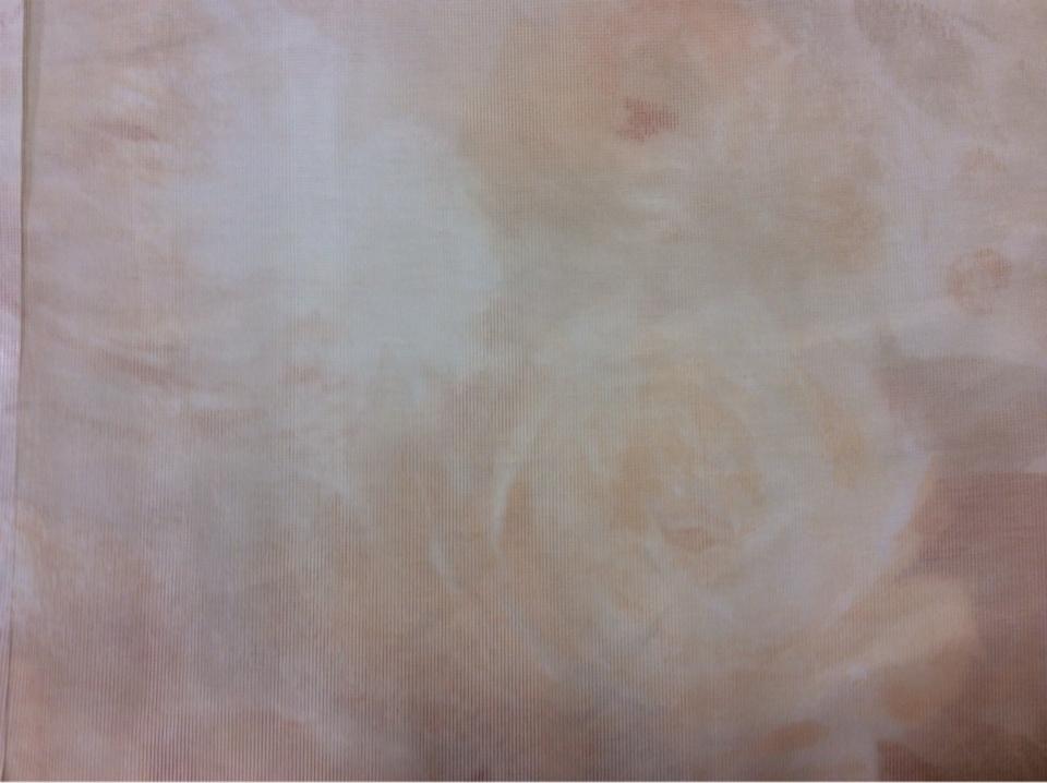Тонкая тюлевая ткань оптом и в розницу в интернет-магазине Nevalya Suit, col 1029. Турция, тюль сетка. На прозрачном фоне размытые цветы в жёлтых и коралловых оттенках