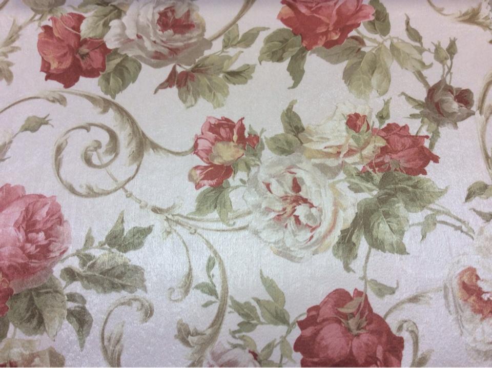 Атласная ткань для штор в Москве Latour, col 92. Турция, портьерная ткань. На светлом фоне яркие цветы, микс