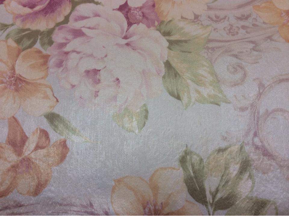 Портьерная ткань из атласа, на светлом фоне нежные цветы в пастельных оттенках Joseph, col 1091. Турция, портьерная ткань