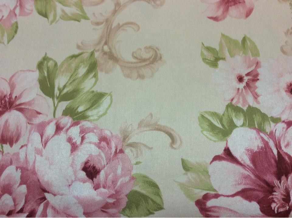Цветочная ткань в стиле кантри, прованс, классика в интернет-магазине Joseph, col 1089. Турция, портьерная ткань средней плотности.На светлом фоне  яркие цветы в розовых с зеленью оттенках