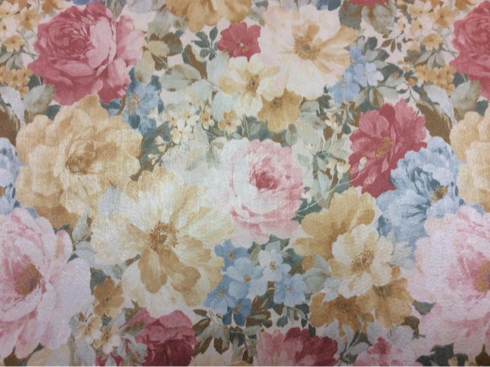 Портьерная ткань из атласа производства Турции Debrus, col 1160. Портьерная ткань средней плотности. Яркий цветочный орнамент, микс