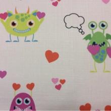 Купить детскую ткань с монстрами Monsters, col V1. Турция, портьерная ткань под лен. На светлом фоне смешные разноцветные фигурки монстриков