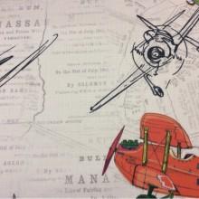 Детская ткань для штор с самолетами Airplanes, col V1. Турция, портьерная ткань под лен. На свелом фоне газетный шрифт и самолётики