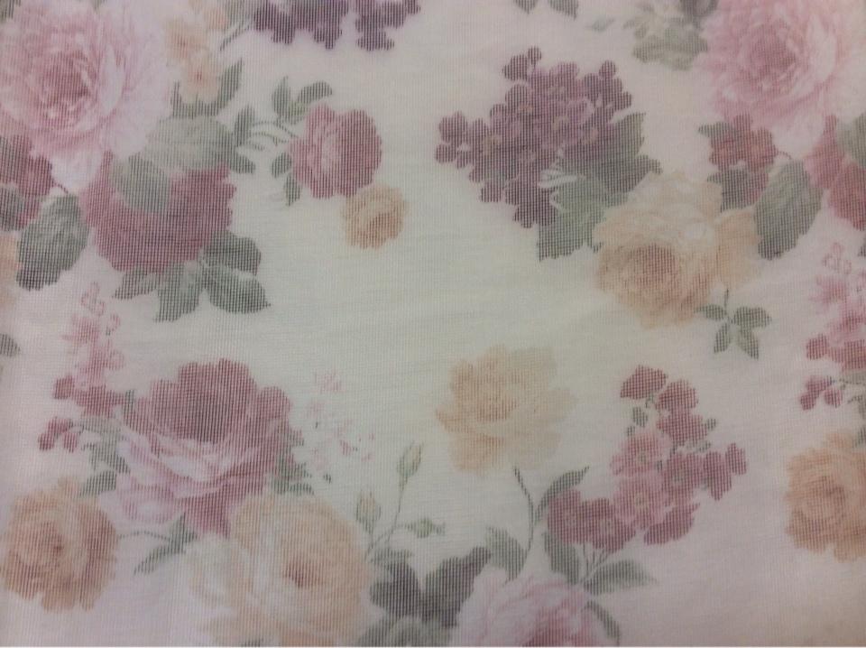 Купить прозрачный тюль с цветами оптом и в розницу в Москве Gabriel Suit, col 1544. Турция, тонкий тюль - сетка.