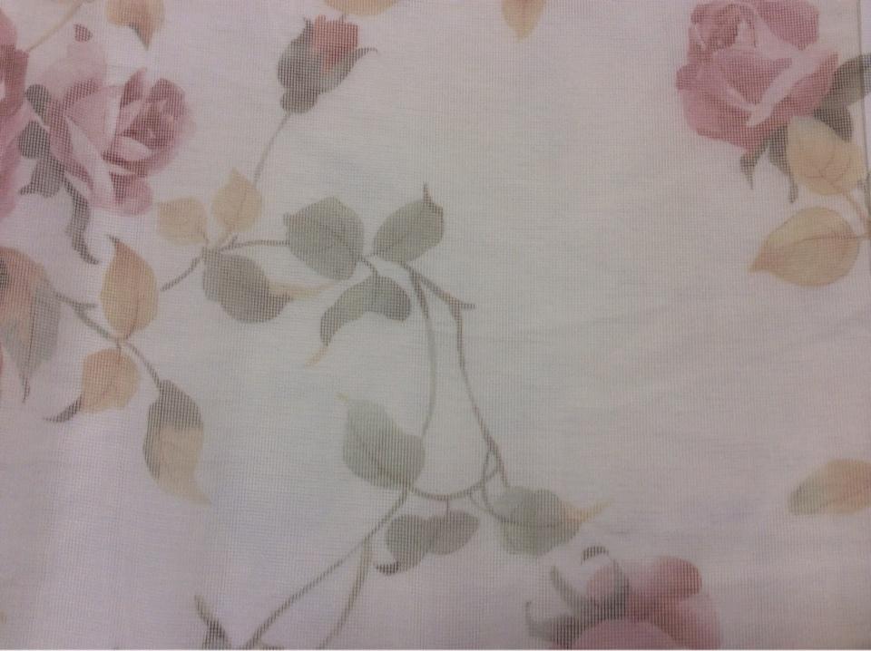 Красивый тюль - сетка из Турции Capeinick Suit, col 1271. 100% полиэстер высотой 2,90 метра. На прозрачном фоне розы в розовых оттенках