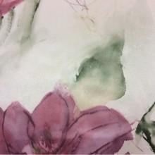 Турецкая ткань из атласа с большими цветами в розовых оттенках Clematis, col 21. Турция, портьерная ткань. На светлом фоне крупные цветы в розовых оттенках, акварель
