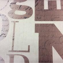Купить ткань блэкаут в стиле поп-арт с английскими буквами и словами Font, col 1031. Турция, портьерная ткань. Крупные буквы, мелкие слова в бежево-коричневых оттенках