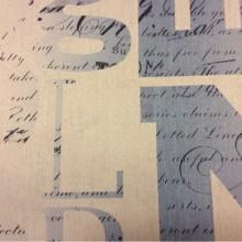 Купить ткань блэкаут для рулонных штор Font, col 1007. Турция, портьерная ткань. Крупные буквы, мелкие слова в бежево-голубых оттенках