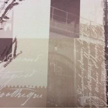 Плотная непрозрачная портьерная ткань блэкаут Berlin, col 1007. Турция. Газетная, городская тематика в бежево-шоколадных оттенках