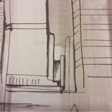 Портьерная ткань блэкаут в интернет-магазине Buildings, col 1004. Турция, портьерная. Стилизованное изображение домов, абстракция, в бежево-коричневых оттенках