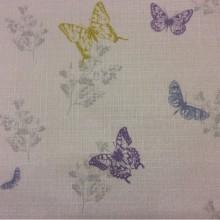 Портьерная ткань «под лён» заказать через интернет Mariposa, col V2.  Турция, портьерная ткань. На светлом фоне разноцветные бабочки