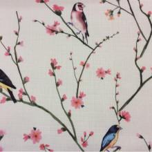 Портьерная ткань «под лён» в интернет-магазине Bruno, col V1. Турция, портьерная ткань для штор. На светлом фоне разноцветные птицы