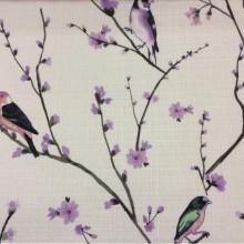 Портьерная ткань «под лён» с птичками Bruno, col V3. Турция, портьерная ткань в стиле кантри, прованс, классика. На светлом фоне разноцветные птицы
