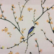 Портьерная ткань «под лён» Bruno, col V2. Турция, портьерная ткань для гостиной, студии, кухни, детской и игровой комнаты. На светлом фоне разноцветные птицы