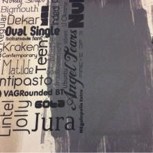 Ткань для ночных штор (светонепроницаемая) в стиле поп-арт Soho, col 1036. Турция, портьерная ткань блэкаут. Газетная тематика в бежево- коричнево-чёрных оттенках