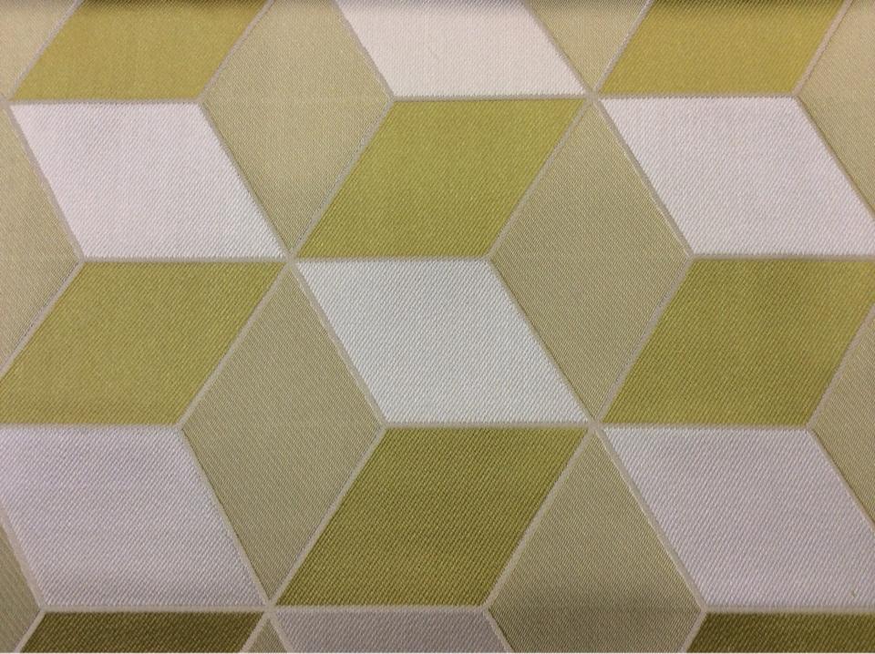 Портьерная ткань в современном стиле с эффектом 3D Арт: 2544/53. Итальянский каталог. Геометрический рисунок в оливковых, ванильных оттенках и цвета хаки