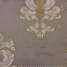 Элитная ткань в стиле барокко, ампир, классическом стиле купить в интернет-магазине Арт: 1320B, col 12. Итальянский каталог ткани для штор. Золотисто-серебристые «дамаски» на сером фоне