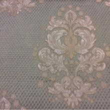 Заказать итальянскую ткань в стиле ампир, барокко, классика в Москве Арт: 1320B, col 10. Итальянский каталог портьерной ткани. Серебристо-золотистые «дамаски» на фоне цвета морской волны