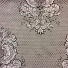 Жаккардовая ткань с рифлёной фактурой Арт: 1320B, col 11. Итальянский каталог ткани в стиле барокко, ампир. Серебристо-шоколадные «дамаски» на сером фоне
