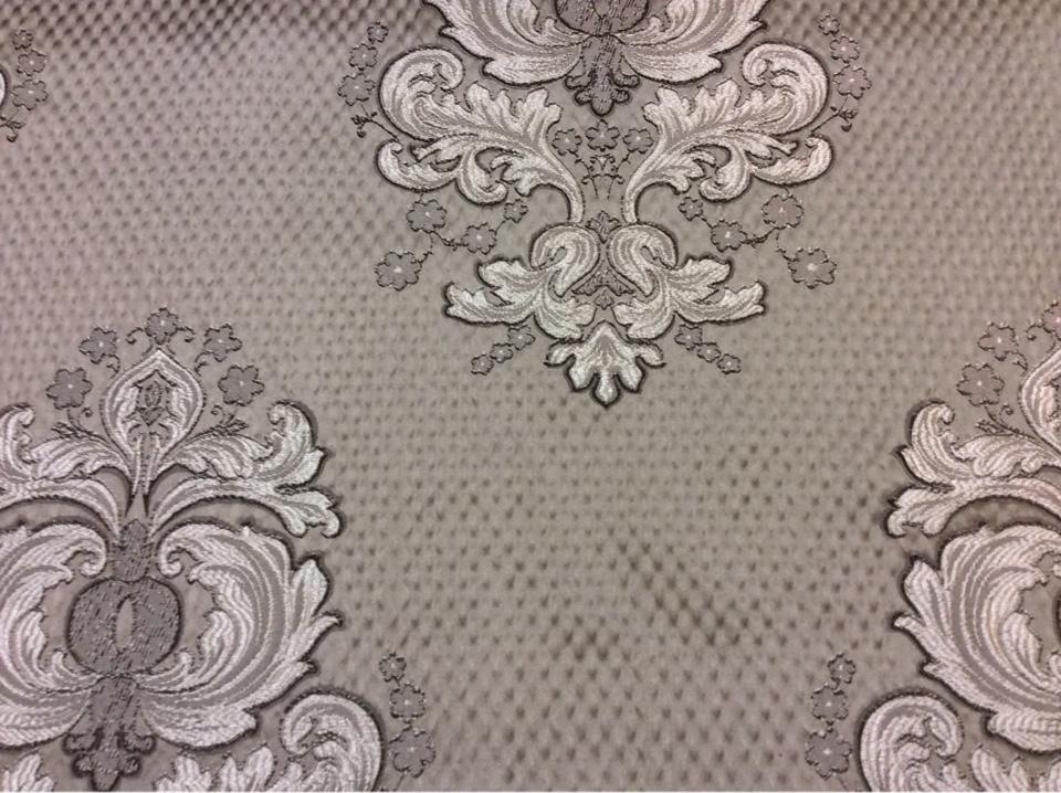 """Жаккардовая ткань с рифлёной фактурой Арт: 1320B, col 11. Итальянский каталог ткани в стиле барокко, ампир. Серебристо-шоколадные """"дамаски"""" на сером фоне"""