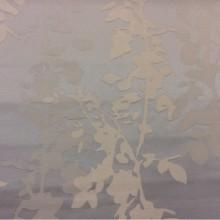 Материал для штор из атласа купить в Москве Арт: 2523/61. Европа, Италия, портьерная ткань. Вертикальные листья и ветви в бледно-голубых и кремовых тонах
