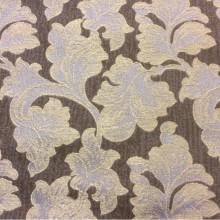 Жаккардовая ткань с хлопковой нитью Celine, col 110. Европейский каталог портьерной ткани для штор. На шоколадном фоне золотисто-сиреневые листья дуба