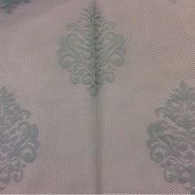 Красивая кружевная ткань для штор Julyetta 1147, col 801. Турция, тюль. Ажурная сетка с кружевными «дамасками» голубого цвета