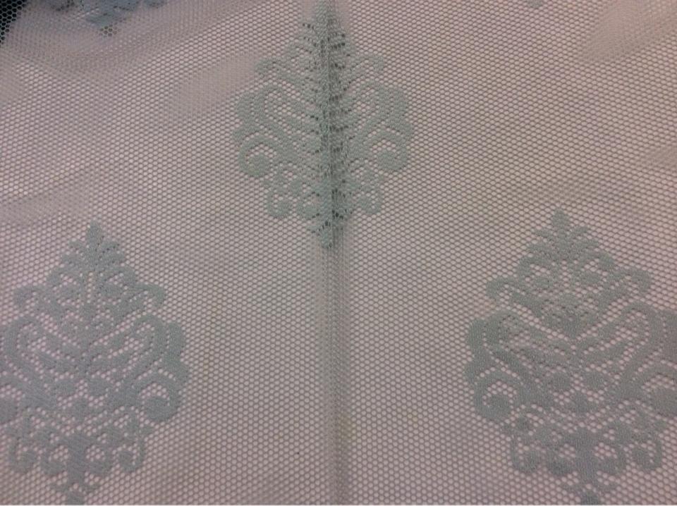 """Красивая кружевная ткань для штор Julyetta 1147, col 801. Турция, тюль. Ажурная сетка с кружевными """"дамасками"""" голубого цвета"""