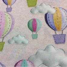 Детская ткань для штор с воздушными шарами Twister, col: Rosa 25. Испанский каталог портьерной ткани для детской.
