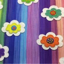 Красивая ткань из хлопка с детской тематикой Twister Iris D, col Unico 50. Детская портьерная ткань для штор. Разноцветные цветы ( микс)