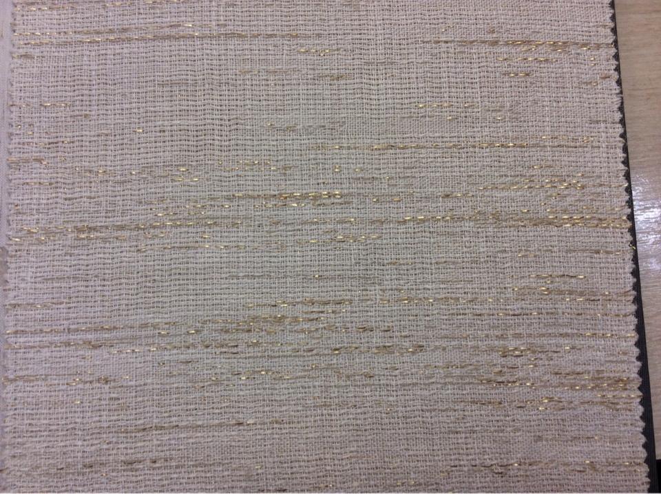Портьерная ткань из льна, хлопка, с добавлением люрексной нити 2601/12. Германия, каталог портьерной ткани для штор. В молочно-золотистых оттенках