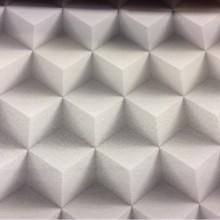3D ткань для штор в стиле хай-тек, хай-энд, техно, минимализм, кубизм Geometric, col 41. Испанский каталог ткани. Объёмный геометрический рисунок в серых и стальных оттенках